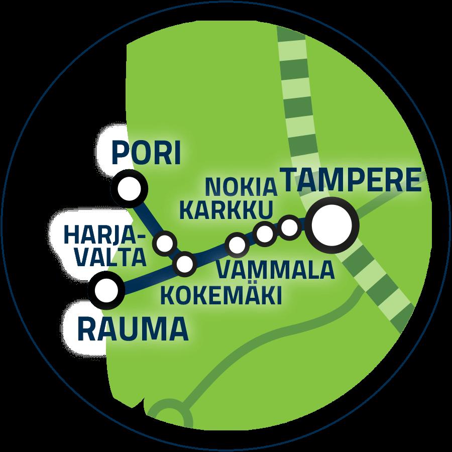 Jatkoyhteys Tampere–Pori/Rauma kartalla.