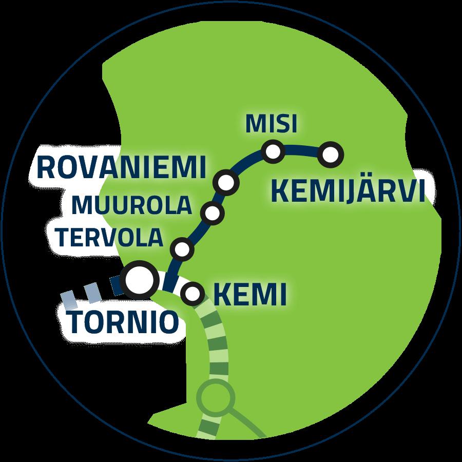 Jatkoyhteys Kemi–Rovaniemi–Kemijärvi kartalla.