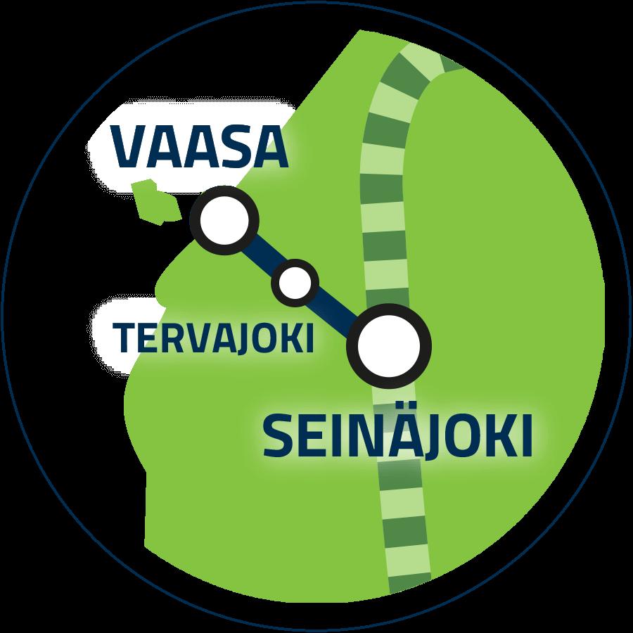 Jatkoyhteys Seinäjoki–Vaasa kartalla.