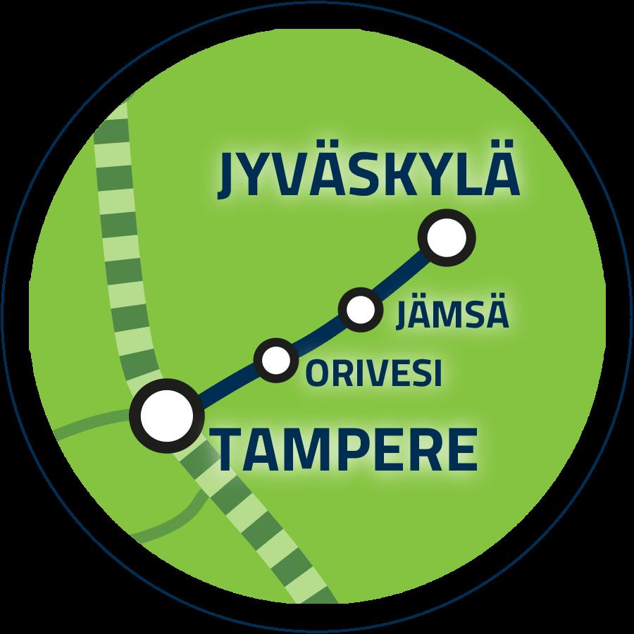 Jatkoyhteys Tampere–Jyväskylä kartalla
