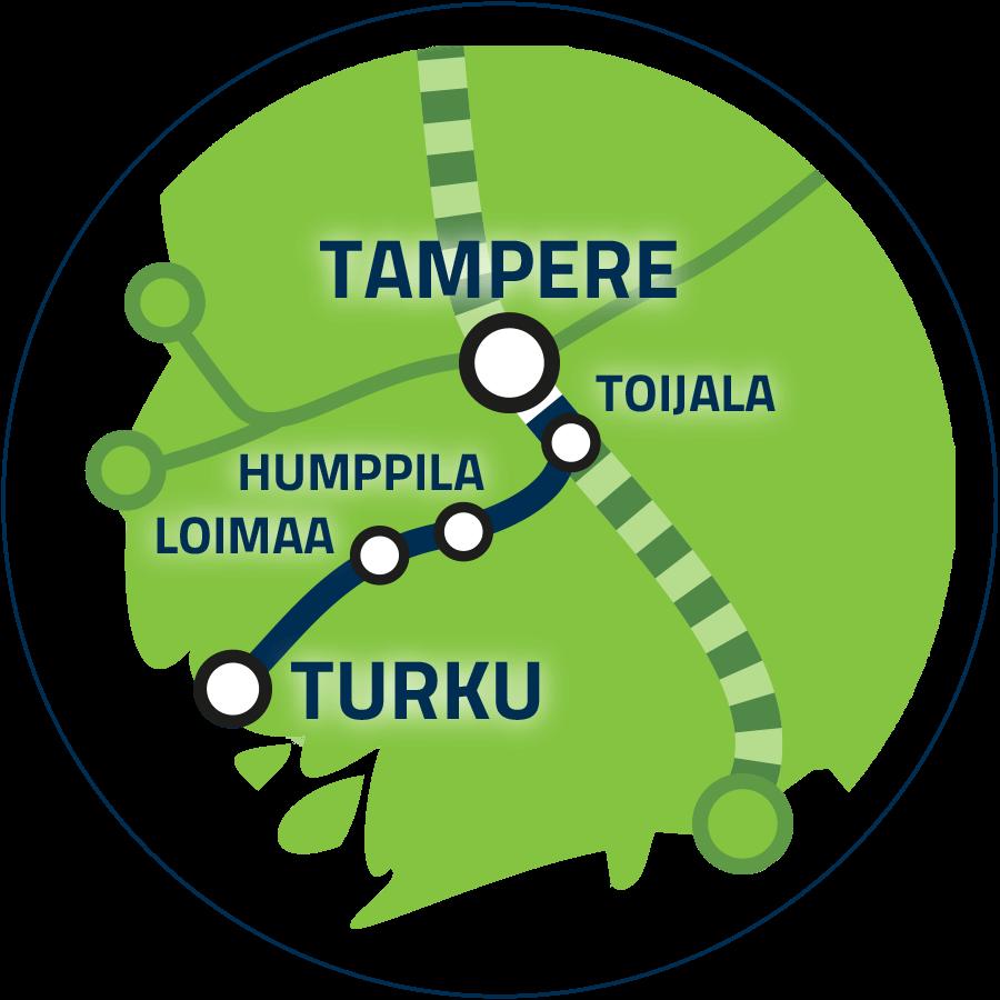 Jatkoyhteys Tampere–Turku kartalla.