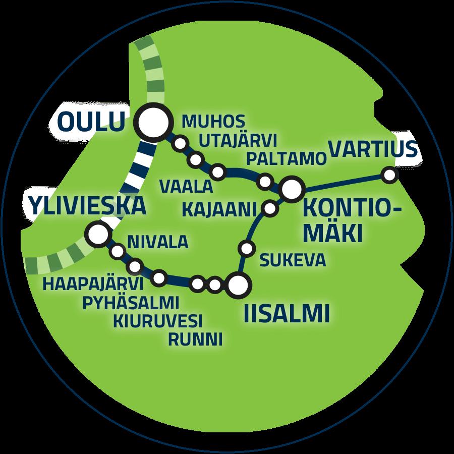 Jatkoyhteys Ylivieska–Kontiomäki–Vartius kartalla.