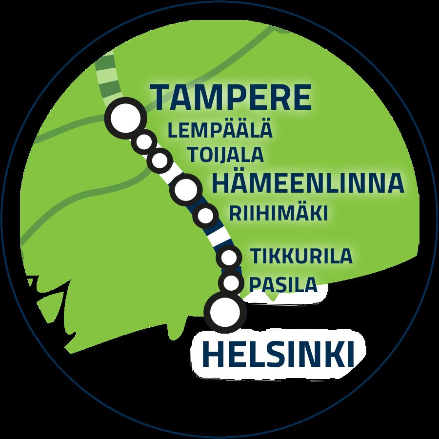 Yhteysväli Helsinki-Tampere kartalla.