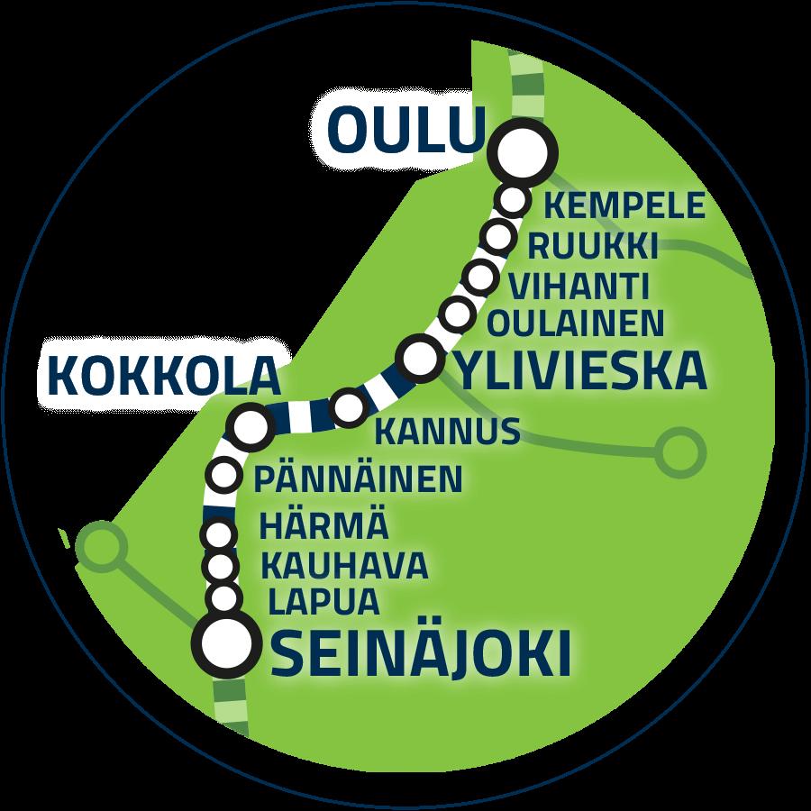 Yhteysväli Seinäjoki–Oulu kartalla