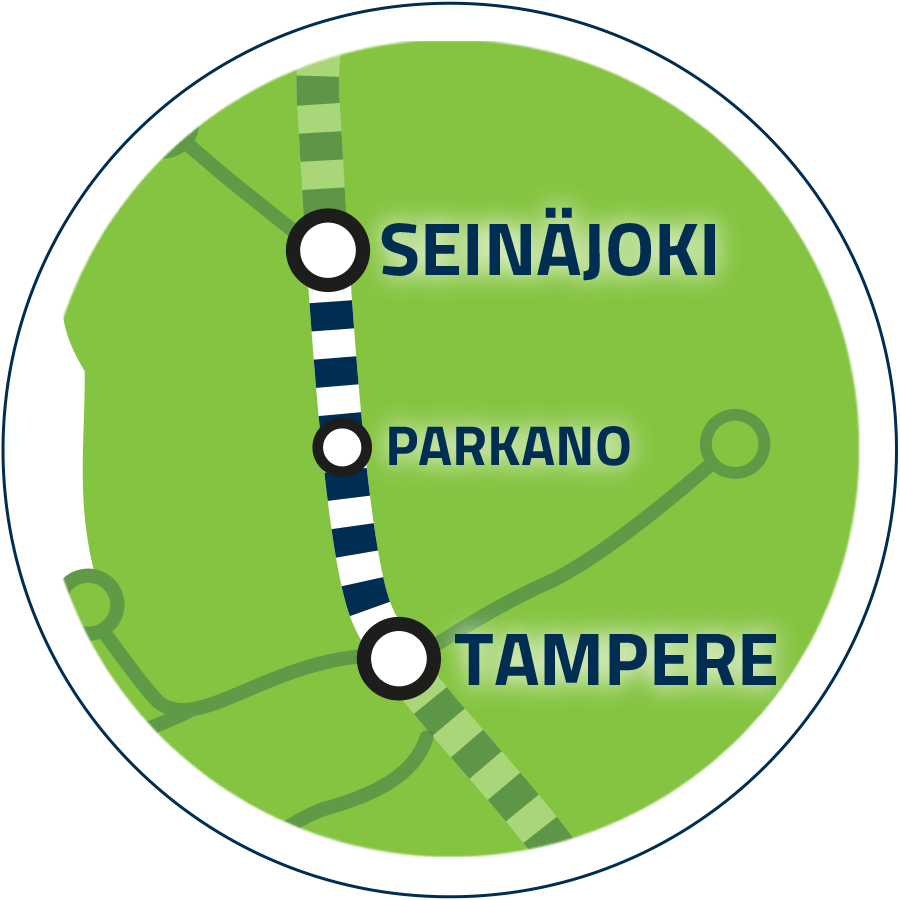 Yhteysväli Tampere–Seinäjoki kartalla.